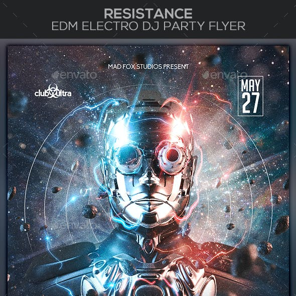 Resistance EDM Electro Dj Party Flyer