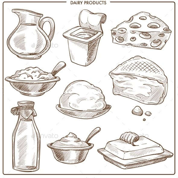 Dairy Products of Natural Milk Monochrome Sketches