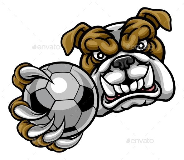 Bulldog Holding Soccer Ball Mascot - Sports/Activity Conceptual