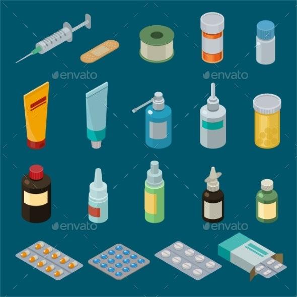 Pharmacy Vector Medicine Drugs or Pills - Health/Medicine Conceptual