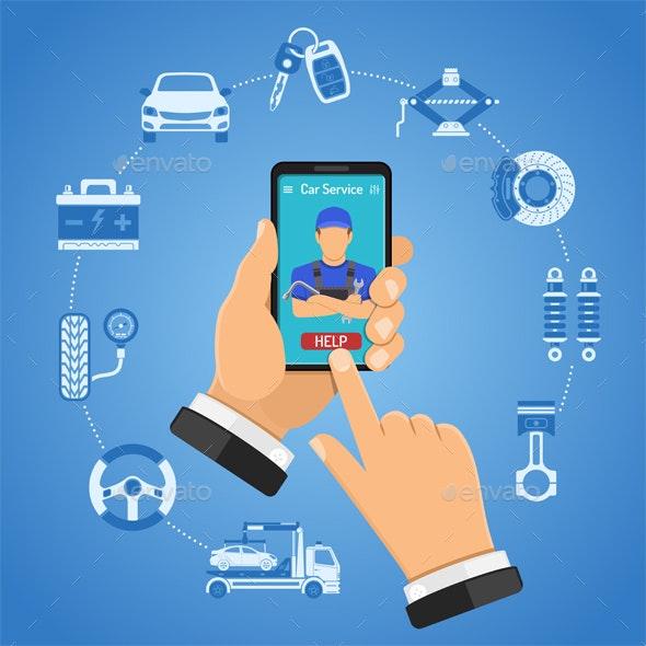Online Car Services Concept - Services Commercial / Shopping