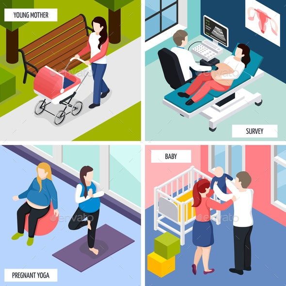 Pregnancy Isometric Design Concept - People Characters