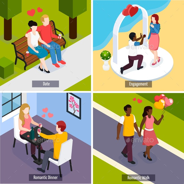 Romantic Date Isometric Design Concept - People Characters