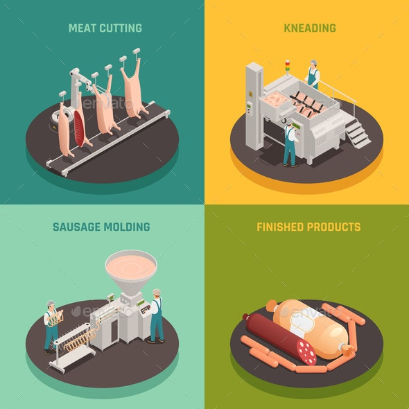 Sausage Factory Isometric Design Concept - Food Objects