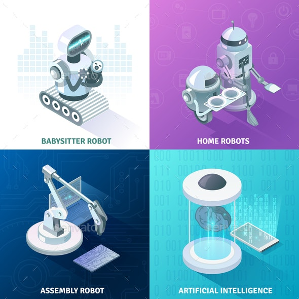 Artificial Intelligence Isometric Design Concept - Computers Technology