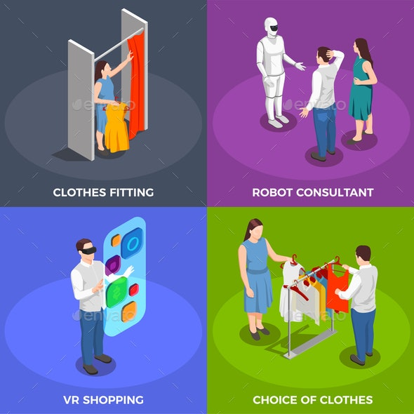 Consumers Isometric Concept Icons Set - Computers Technology