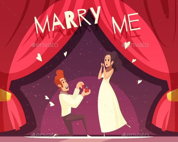 Wedding Cartoon Illustration - People Characters