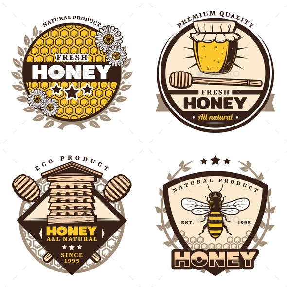 Vintage Colored Honey Emblems Set - Food Objects