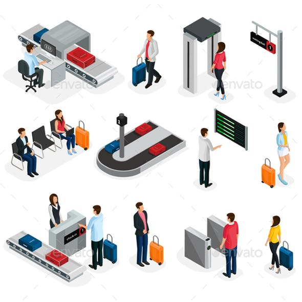 Isometric People In Airport Set