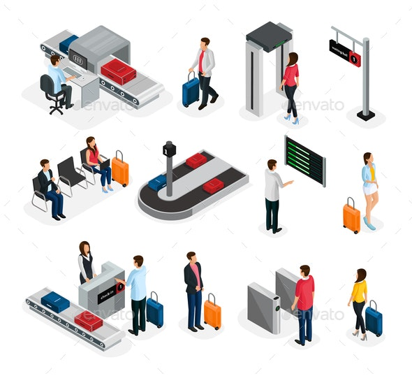 Isometric People In Airport Set - People Characters