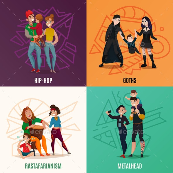 Subcultures Family Cartoon Design Concept - People Characters