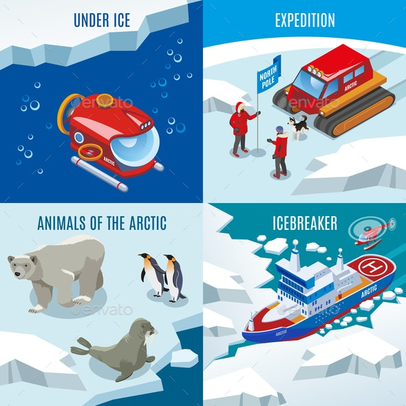 Arctic Research Isometric Design Concept - Animals Characters
