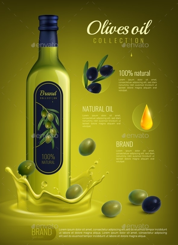Realistic Olive Oil Advertising Composition - Food Objects