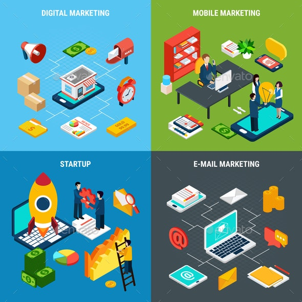Digital Marketing 2x2 Isometric Concept - Concepts Business
