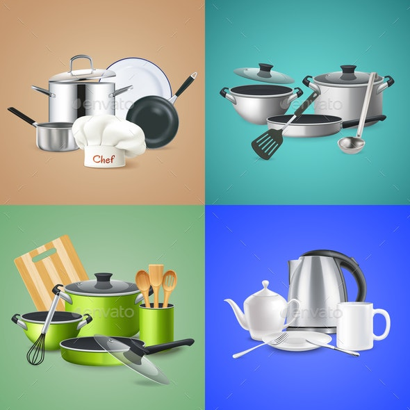 Realistic Kitchen Tools Design Concept - Miscellaneous Vectors