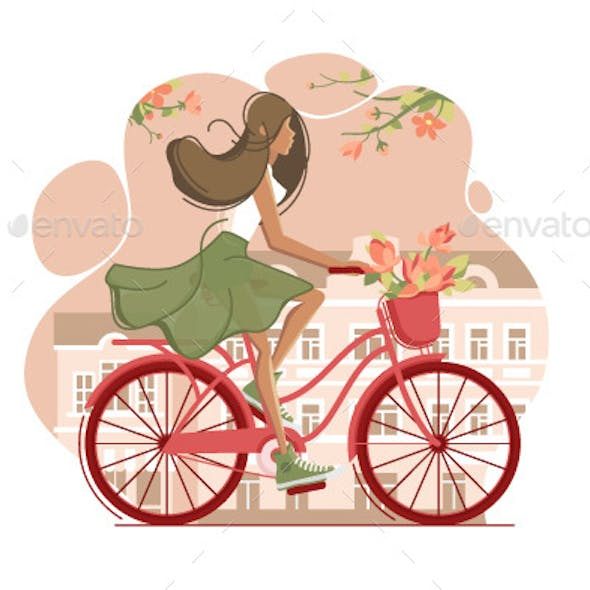 Girl on Vintage Bicycle with Flowers