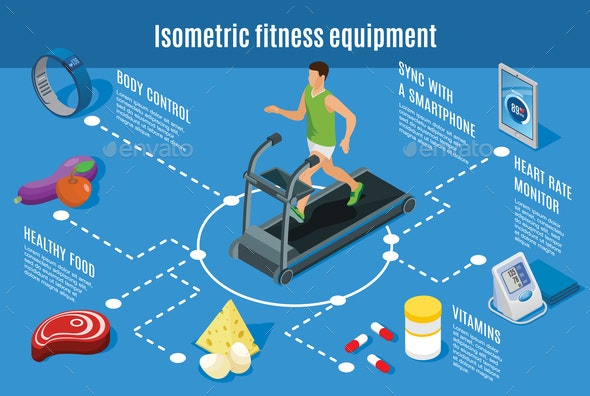 Isometric Sport Lifestyle Flowchart - People Characters