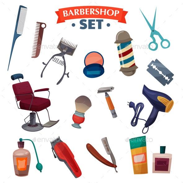 Barber Shop Cartoon Set - Miscellaneous Vectors
