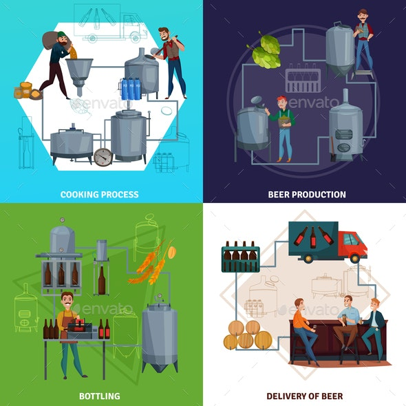 Beer Production Cartoon Design Concept - Food Objects