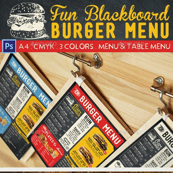 Fun Blackboard Burger Menu