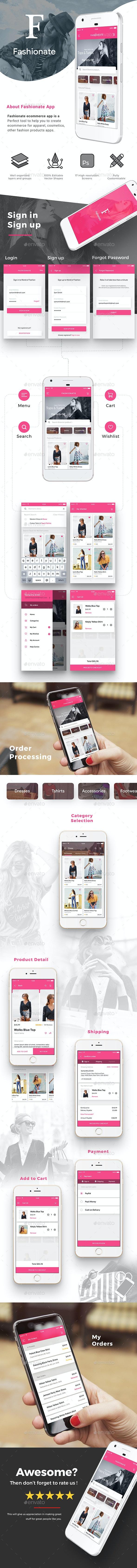 E commerce Fashion App UI Set | Fashionate - User Interfaces Web Elements