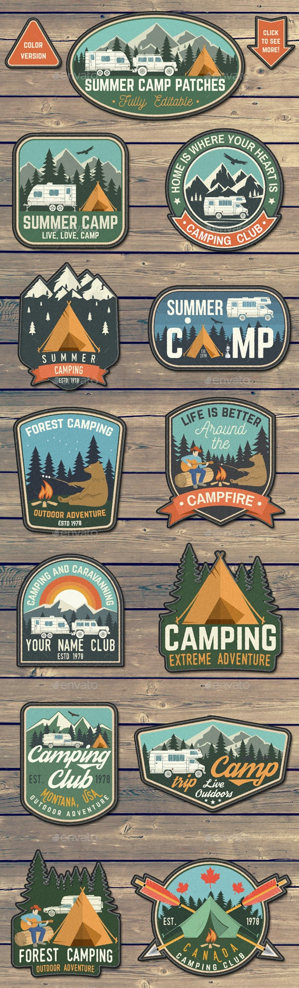 Summer Camp Patches - Badges & Stickers Web Elements