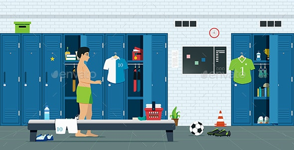 Lockers of Athletes - Sports/Activity Conceptual