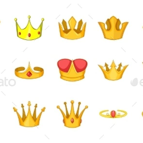 Crown Icon Set Cartoon Style