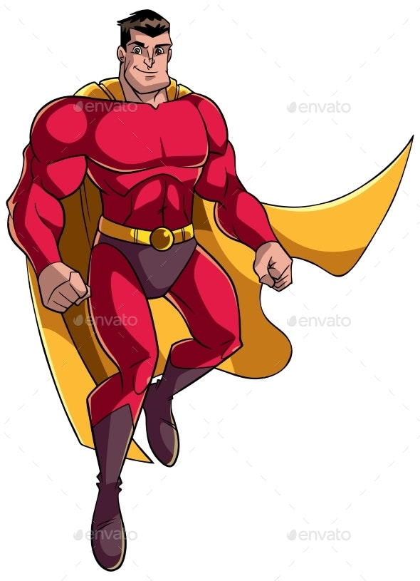 Superhero Flying and Smiling - People Characters