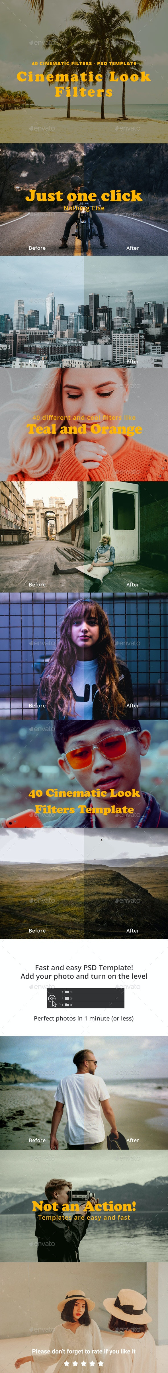 40 Cinematic Look Filters Template - Photo Templates Graphics
