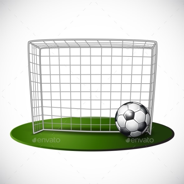 Ball on Soccer Goalpost with Net Background - Sports/Activity Conceptual