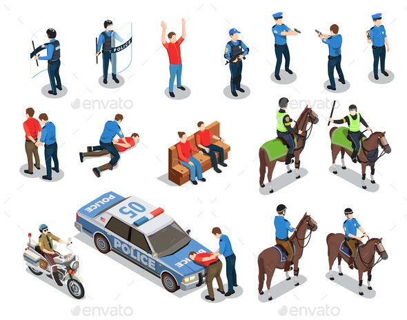 Police Icons Set - People Characters