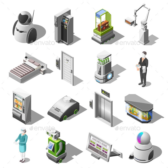 Robotized Hotels Isometric Icons - Computers Technology