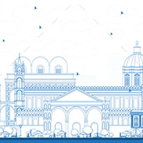 Outline Palermo Italy City Skyline with Blue Buildings