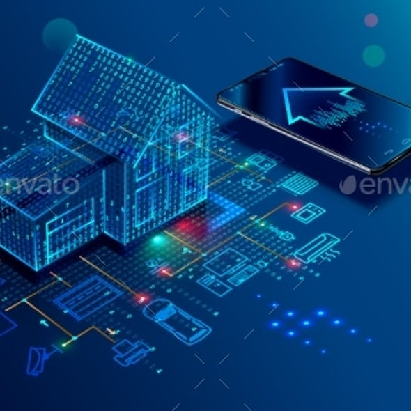 IOT Concept Smart Home Connection and Control