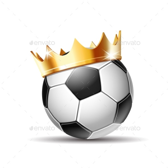 Soccer Ball in Golden Royal Crown - Man-made Objects Objects