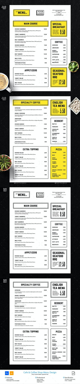 Minimalist Line Clean Cafe Menu Design - Food Menus Print Templates