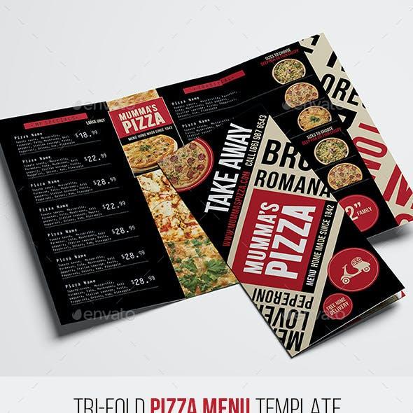 Tri-Fold Pizza Menu