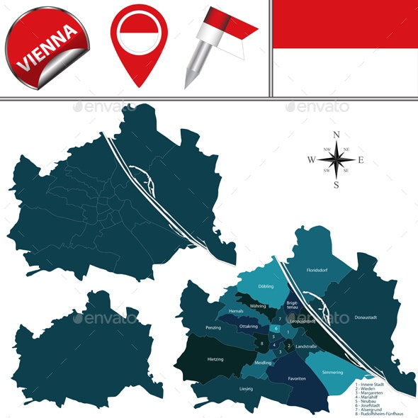 Map of Vienna, Austria with Named Districts - Travel Conceptual