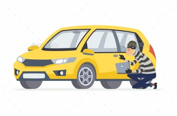Car Thief - Cartoon People Characters Illustration - People Characters