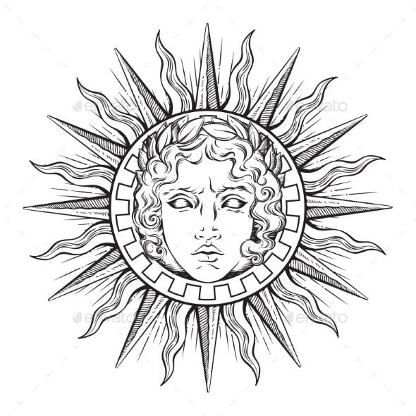 Sun with Face of God Apollo or Helios