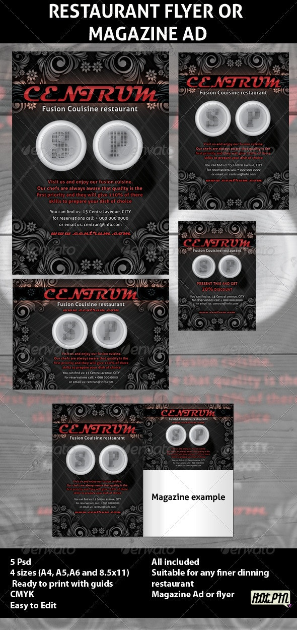 Restaurant Magazine Ads or Flyers 5 - Clubs & Parties Events