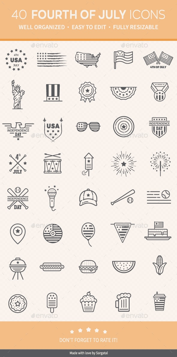 4th of July Icons - Seasonal Icons