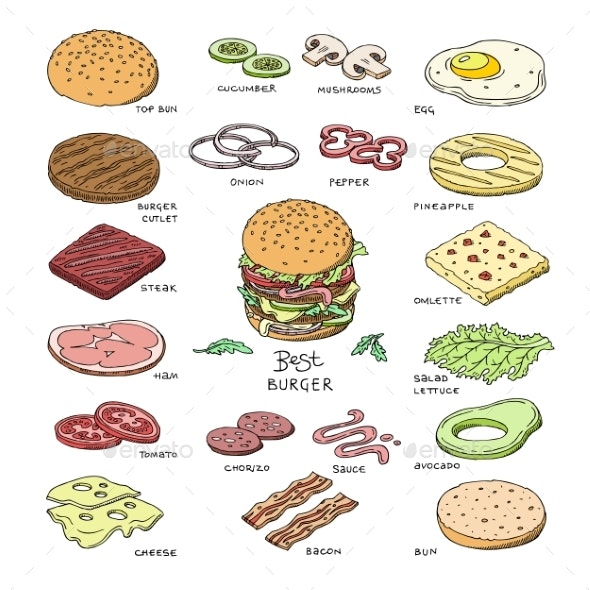 Burger Vector Fast Food - Food Objects