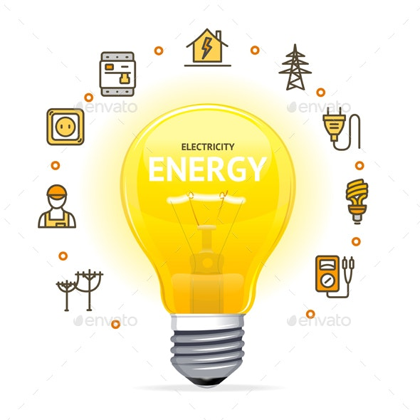 Electricity Concept with Realistic Detailed Electric Light Bulb - Miscellaneous Vectors