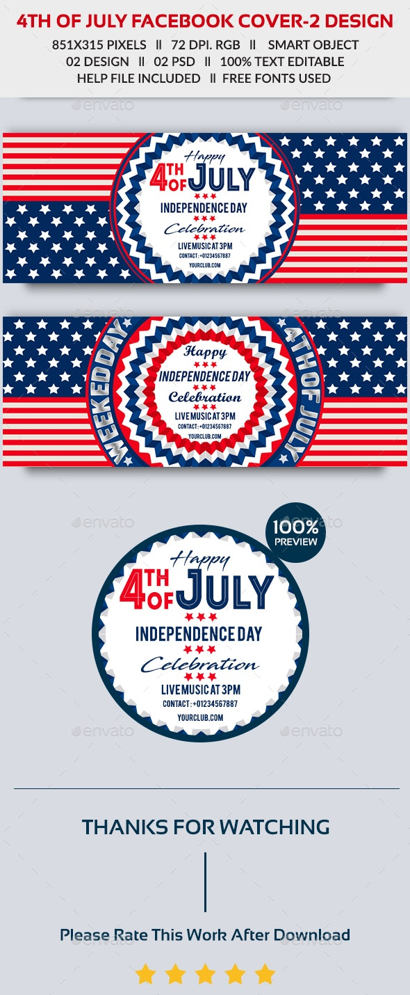 4th of July Facebook Cover - 2 Design- Image Included - Facebook Timeline Covers Social Media