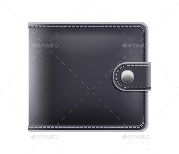 Black Purse for Money Male Accessory Vector - Man-made Objects Objects