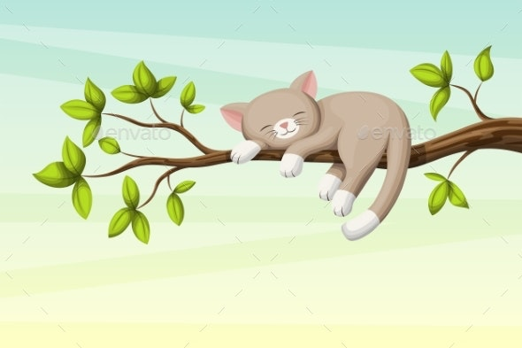 Little Cat Sleeping - Animals Characters