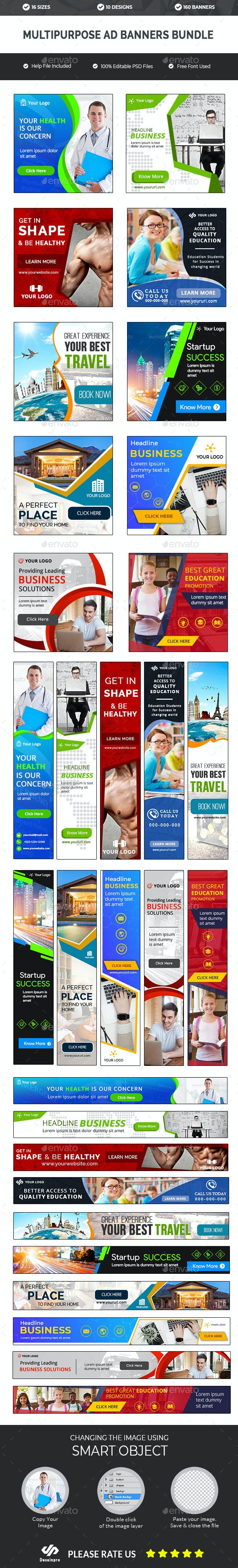 Multipurpose Banners Bundle - 10 Sets - 160 Banners - AR - Banners & Ads Web Elements