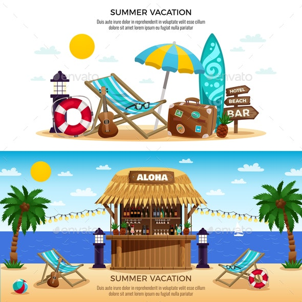 Summer Vacation Horizontal Banners - Seasons Nature